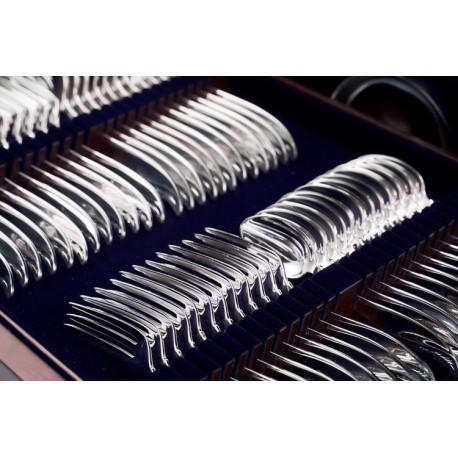 Zestaw posrebrzanych sztućców obiadowych w drewnianej kasecie - 81 szt.