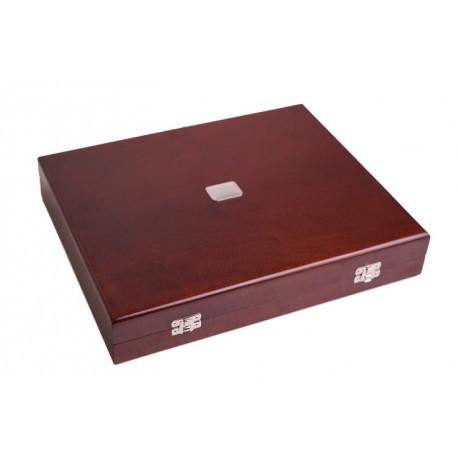 Zestaw posrebrzanych sztućców stołowych w drewnianej kasecie - 24 szt.