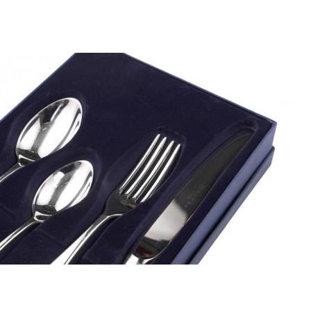 Zestaw posrebrzanych sztućców obiadowych z łyżką do bulionu - 4 szt.