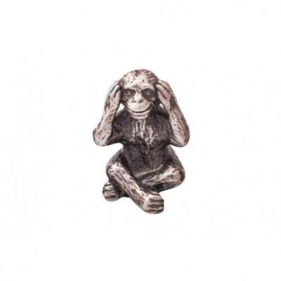 Małpka niesłysząca - figurka posrebrzana