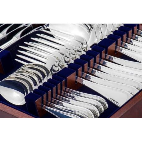 Zestaw srebrnych sztućców obiadowych w drewnianej w kasecie - 24 szt.