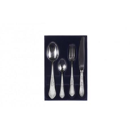 Zestaw srebrnych sztućców obiadowo-deserowych - 4 szt.