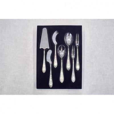 Zestaw srebrnych sztućców serwingowych