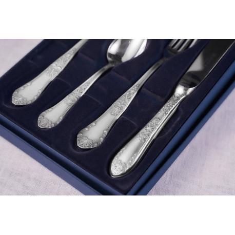 Zestaw posrebrzanych sztućców obiadowych z łyżką do bulionu i nożem do steków - 4 szt.