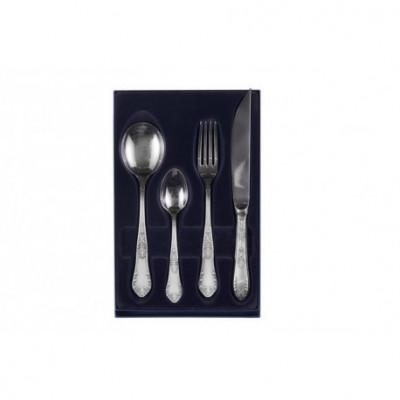 Zestaw posrebrzanych sztućców obiadowych z łyżką do bulionu i nożem do steków