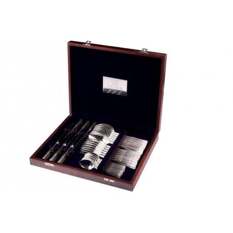 Zestaw sztućców obiadowych ze stali szlachetnej w drewnianej kasecie - 24 szt. - model Wschodni