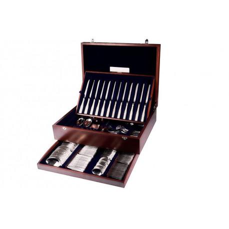 Zestaw posrebrzanych sztućców obiadowych w drewnianej kasecie, oksydowany - 81 szt.