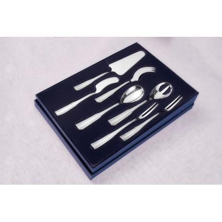 Zestaw posrebrzanych sztućców serwingowych, oksydowany - 7 szt.