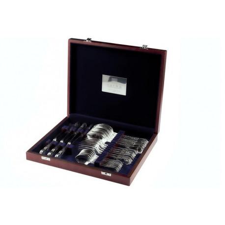 Zestaw posrebrzanych sztućców obiadowych w drewnianej kasecie - 24 szt.